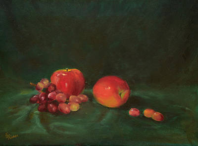 Two Red Apples And Grapes Poster by Sandy Fisher