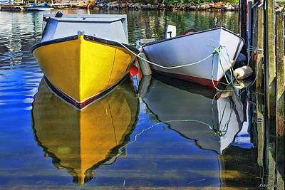 Two Row Boat At Fisherman's Cove Poster by Ken Morris