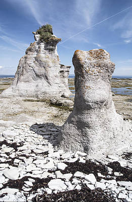 Poster featuring the photograph Two Sculpted Rocks On Naked Isld by Arkady Kunysz