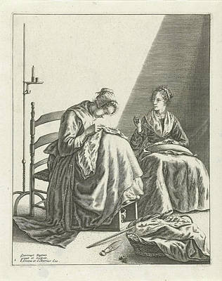 Two Sewing Women, Geertruydt Roghman, Johannes Covens Poster by Geertruydt Roghman And Johannes Covens And Cornelis Mortier