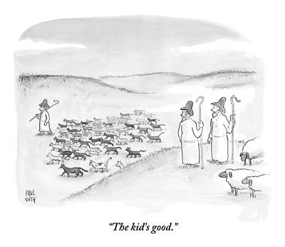 Two Shepherds With Conventional Sheep Look Poster by Paul Noth
