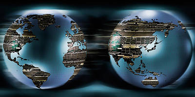 Two Sides Of Earths Made Of Digital Poster by Panoramic Images