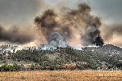 Two Smoke Columns White Draw Fire Poster by Bill Gabbert