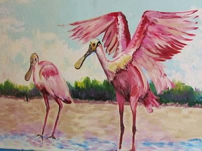 Two Spoonbills  Poster by Cynthia Guinn