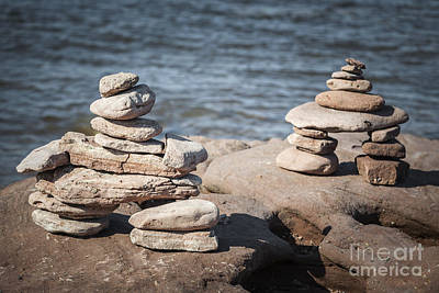 Two Stacked Stone Cairns Poster by Elena Elisseeva