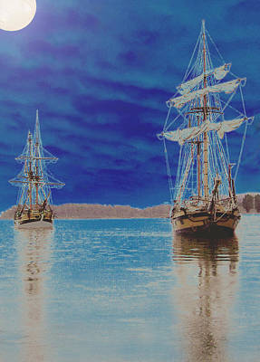Two Tall Ships Under A Full Moon Poster by Blythe Ayne