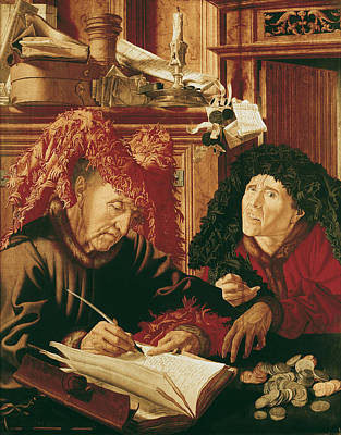 Two Tax Gatherers, C.1540 Oil On Panel Poster by Marinus van Reymerswaele