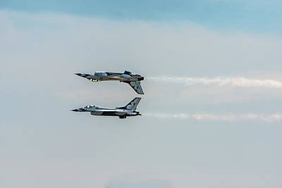 Two Thunderbird Jets Mirroring, One Poster by Sheila Haddad