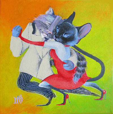 Two To Cats' Tango Poster by Marina Gnetetsky