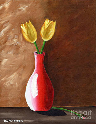 Two Tulips And A Pink Rose Poster by Laura Forde