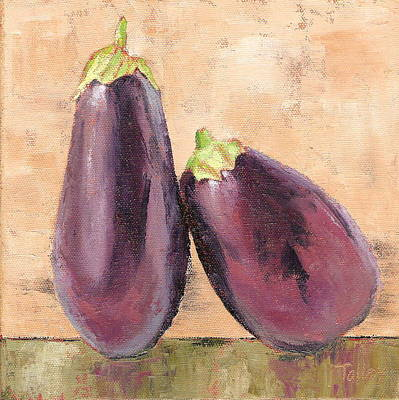 Poster featuring the painting Two Tuscan Eggplants by Pam Talley