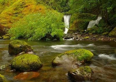 Two Waterfalls Along Eagle Creek Poster by Jeff Swan