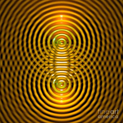 Two Wave Sources Creating Interference Patterns 5 Poster by Russell Kightley