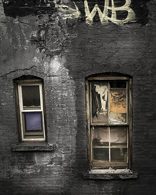 Two Windows Old And New - Old Building In New York Chinatown Poster by Gary Heller