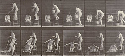 Two Women Bathing Poster by Eadweard Muybridge