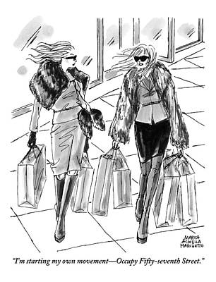 Two Women Dressed Nicely Walk Together Carrying Poster by Marisa Acocella Marchetto