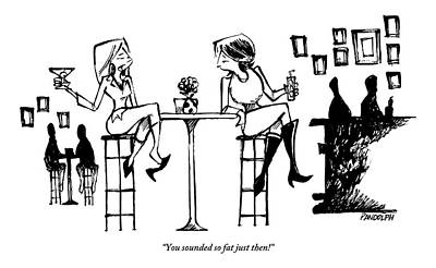 Two Women Drink Cocktails At A High Table Poster
