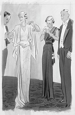 Two Women In Evening Gowns With Older Men Poster by Eduardo Garcia Benito