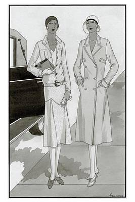 Two Women On The Sidewalk Near A Car Wearing Lord Poster by Polly Tigue Francis