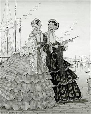 Two Women Wearing Large Dresses With Hoop Skirts Poster by Claire Avery