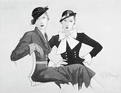 Two Women Wearing Shepherdess Hats And Sitting Poster by Douglas Pollard