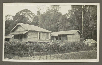 Two Wooden Houses With Porches And An Outbuilding Poster