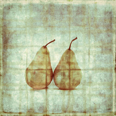 Two Yellow Pears On Folded Linen Poster by Carol Leigh