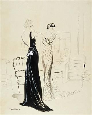 Two Young Women Wearing Schiaparelli Evening Poster by Rene Bouet-Willaumez