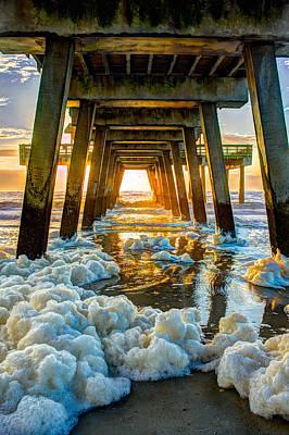 Tybee Island Pier Sunrise Seafoam Poster by Reid Callaway