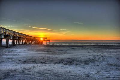 Tybee Island Pier Sunrise Watchers Poster by Reid Callaway