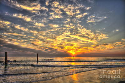Calm Seas And A Tybee Island Sunrise Poster by Reid Callaway