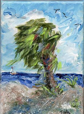 Poster featuring the painting Tybee Palm Mini Series 1 by Doris Blessington
