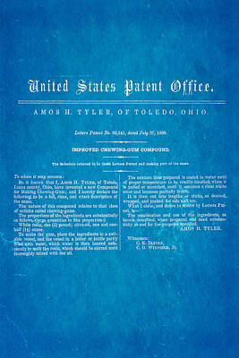 Tyler Ohio Chewing Gum Patent Art 1869 Blueprint Poster by Ian Monk