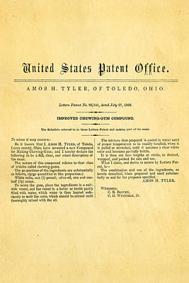 Tyler Ohio Chewing Gum Patent Art 1869 Poster by Ian Monk