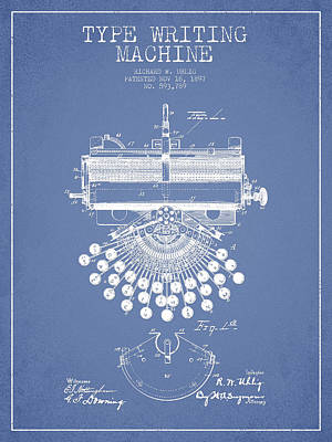 Type Writing Machine Patent Drawing From 1897 - Light Blue Poster