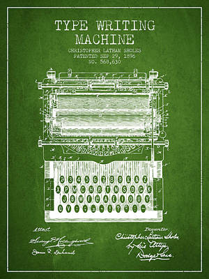 Type Writing Machine Patent From 1896 - Green Poster