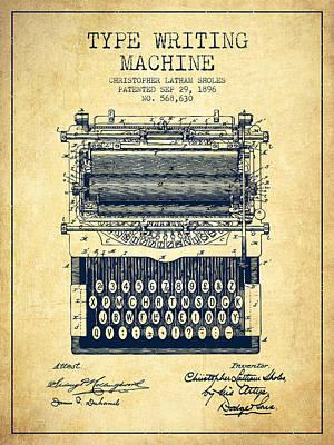 Type Writing Machine Patent From 1896 - Vintage Poster