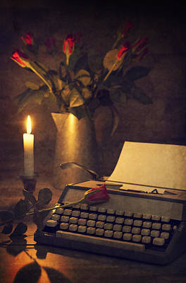Typewriter And Roses Poster by Amanda Elwell