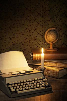 Typewriter With Globe Poster by Amanda Elwell