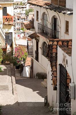 Typical Street In Taxco Poster by Ralf Broskvar
