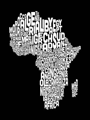 Typography Map Of Africa Map Poster by Michael Tompsett