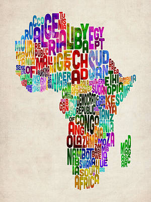 Typography Map Of Africa Poster by Michael Tompsett