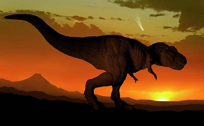 Tyrannosaurus And Comet Poster