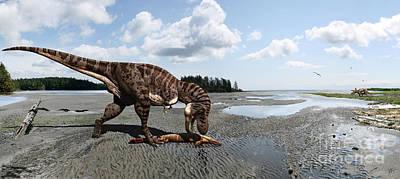 Tyrannosaurus Enjoying Seafood - Wide Format Poster by Julius Csotonyi