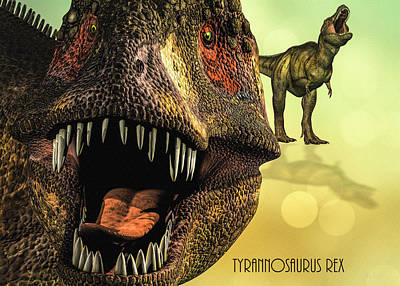 Poster featuring the digital art Tyrannosaurus Rex 4 by Bob Orsillo