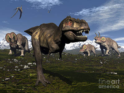 Tyrannosaurus Rex Attacked By Three Poster by Elena Duvernay