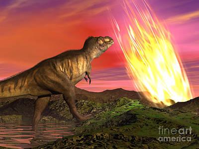 Tyrannosaurus Rex Observes A Meteorite Poster