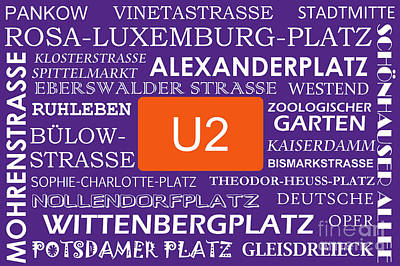 U Bahn Metro U2 Berlin Poster