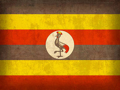 Uganda Flag Vintage Distressed Finish Poster by Design Turnpike