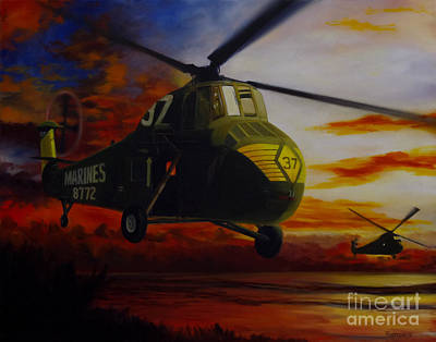 Uh-34d Over The Beach Poster by Stephen Roberson